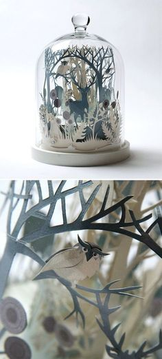 Inspiration for paper art in bell jar - could go on shelves. ₪ Paper Art Potpourri ₪ amazing paper sculpture under cloche Kirigami, Diy Paper, Cut Paper Art, Paper Cutting Art, Paper Cut Design, Origami Paper Art, 3d Paper Crafts, Paper Quilling, Glass Domes