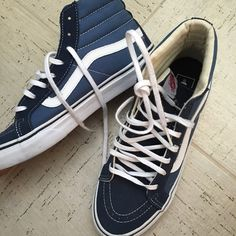 Vans hight tops skateboard sneakers Only worn one time !!!! Amazing condition looks brand new !!!!! Size men's; 7 woman's;8.5 Vans Shoes Sneakers