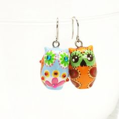 Ceramic Owl Earrings 00048 Super Cute Jewelry Hand Crafts Fashion Accessories