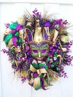 Mardi Gras wreath  Le Carnaval by UpTownOriginals on Etsy, $164.00