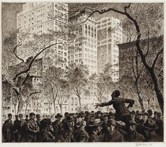 The Orator, Madison Square (etching and roulette, 1916) – Martin Lewis