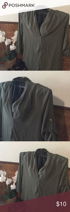 Olive green blouse Nice olive green V neck blouse great for the office with cute gold button accents on the sleeves Mossimo Supply Co Tops Blouses