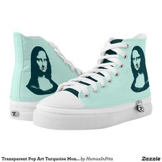 Transparent Pop Art Turquoise Mona Lisa Printed Shoes