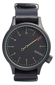 Komono 'Magnus The One' Round Leather Strap Watch, 46mm available at #Nordstrom
