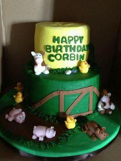 Birthday cake with handmade fondant animals
