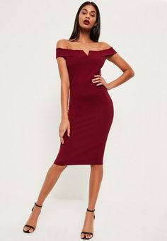 max out your wardrobe and own the night in this babin' beaut! featuring a classic burgundy hue, sweet bardot neckline, midi length and v front, you'll be channelling maximum sexy vibes. style with barely there heels and a matching clutch fo...