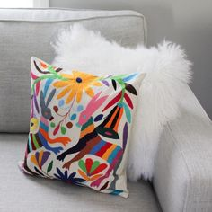 Shop now: Colorful Hand Embroidered Mexican Pillowcase