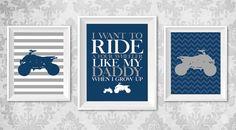 Four Wheeler Nursery Print  Set of 3 Digital by KariDonellDesigns