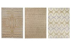 From left, Labyrinth ($152 per sq. ft.), Nastri ($138 per sq. ft.), and Replay ($123 per sq. ft.) rugs by Allegra Hicks for the Rug Company. therugcompany.com Photo courtesy of the Rug Company