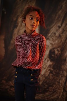 Look fille blouse imprimée mini étoiles Automne-Hiver 2017/2018 collection IKKS Kid Girl #aw17 #kidstyle