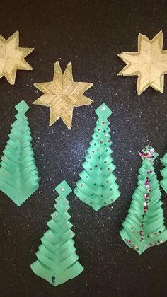 3.lk jouluaskarteluita. Paperileikkelyllä kuusi ja tulitikkuaskartelulla tähti.