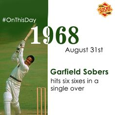 On 31st August, 2016, Garfield Sobers became the first batsman ever to hit six sixes in a single over of six consecutive balls in first-class cricket. #Sosyo #Onthisday #SixSixses #ApnaDeshApnaDrink #DesiDrink