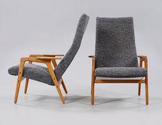 """FÅTÖLJER, ett par, """"Ruster hög"""",  Yngve Ekström, ESE-Möbler AB, Vaggeryd, modell formgiven 1956."""