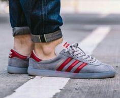 17e0a60c39089b Adidas Hochelaga grey red on feet on the street