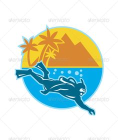Scuba Diver Diving Island Retro - GraphicRiver Item for Sale
