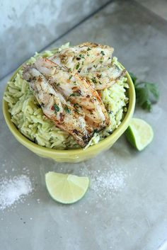 Avocado Orzo with Garlicky Grilled Shrimp