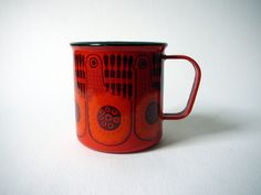 Finel Finland Mug Cup Lintu Red Bird Enamel by DancesWithVases