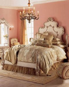 Beautiful pink and gold bedroom.