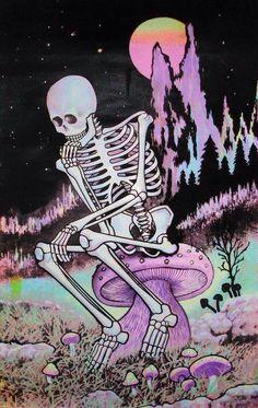 Psychedelic art of a Skeleton sitting on a mushroom. Pop Art, Psychedelic Art, Grunge Vintage, Indie, Creepy, Trippy Wallpaper, Acid Wallpaper, Skeleton Art, Skeleton Anatomy