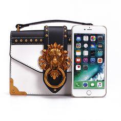 478c5c85bf8626 Fashion Metal Lion Head Mini Small Square Pack Shoulder Bag Crossbody  Package Clutch Women Designer Wallet