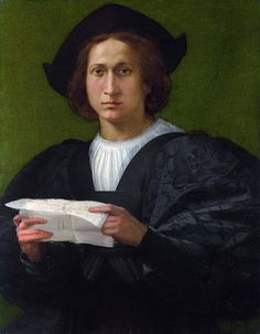 1518 Rosso Fiorentino - Portrait of a Young Man holding a Letter (National Gallery, London) Renaissance Portraits, Renaissance Paintings, Renaissance Men, Italian Renaissance, Renaissance Clothing, Potrait Painting, Art Through The Ages, Time Painting, National Gallery Of Art