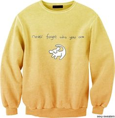 """Sexy-Sweaters, """"never forget who you are"""" Lion King movie quote sweater, yellow"""