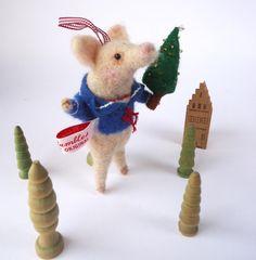 Original Animal Needle Felted Festive Pig by MissBumbles on Etsy