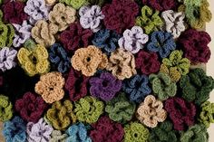 Close-up of crocheted rug...like walking in a field of flowers!