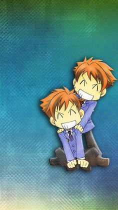 GalaxyWolf: Another wallpaper i made (the original picture doesn't belong to me) I edited and sized it and also put the Background in (I use Photoshop). [Tags]: Hikaru Kaoru Hitachiin twins chibi Ouran High School Host Club OHSHC Anime Ipod / Iphone wallpaper or lock screen