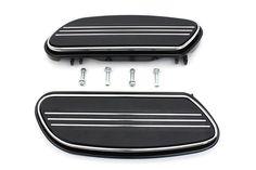 Driver Footboard Set Black Design Harley Davidson FLT FLST Bagger Floorboards #VTwinManufacturing