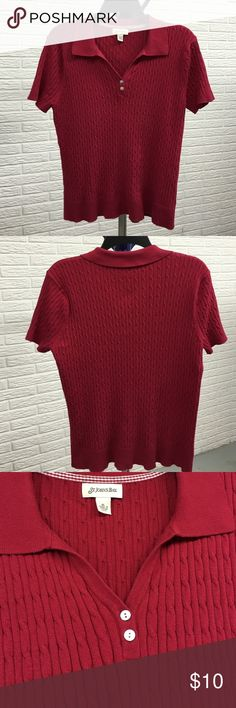 St. John's Bay short sleeve sweater, red XL St. John's Bay short sleeve sweater, red XL cable knit collared v-neck with 2 mother of pearl type buttons. 70%cotton, 30%nylon, used condition. Piling present, mostly under arms. No rips, stains, holes. Great business casual top. St. John's Bay Sweaters V-Necks