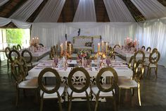 Decor by Em'ganwini Kraal Wedding Decorations, Table Decorations, Rose, Furniture, Ideas, Home Decor, Weddings, Pink, Decoration Home