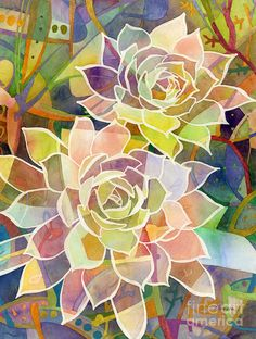 Succulent Painting - Succulent Mirage 2 by Hailey E Herrera Watercolor Canvas, Watercolor Paintings, Original Paintings, Original Art, Canvas Art, Succulent Wall Art, Spiky Succulent, Succulents Art, Silk Painting