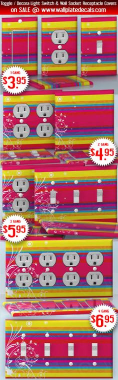 DIY Do It Yourself Home Decor - Easy to apply wall plate wraps | Colors of the Unimaginable Beautiful bright color lines wallplate skin stickers for single, double, triple and quadruple Toggle and Decora Light Switches, Wall Socket Duplex Receptacles, and blank decals without inside cuts for special outlets | On SALE now only $3.95 - $6.95