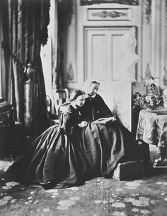 The newly-widowed Queen Victoria and beautiful Princess Louise, Windsor Castle, 1862.