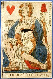 Carte appartenant à un jeu dessiné par Jacques-Louis David sous la Terreur, dans lequel les dames incarnent des vertus ou des libertés nouvelles. Ainsi, l'ancienne dame de cœur personnifie la fraternité et la liberté de culte.