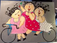 Gerelateerde afbeelding Plus Size Art, Fat Art, Bicycle Art, Paper Artwork, All Poster, People Art, Whimsical Art, Girl Humor, Art Lessons