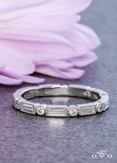 Gorgeous diamond wedding band with round and baguette shaped diamonds. ~ #GreenLakeJewelry