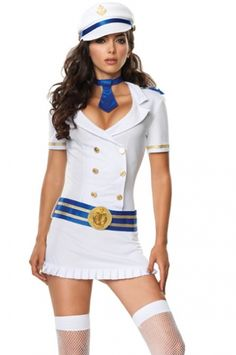 Sailor Girl Ladies Fancy Dress Navy Costume Outfit