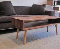 Furniture , Stylish Mid Century Coffee Table : Simple Wood Mid Century Coffee Table