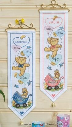 Birth Samplers - Bears Wall Hanging Boy's Birth Sampler Cross Stitch Kit - Idéna Collection by Anchor Cross Stitch Heart, Cross Stitch Kits, Cross Stitch Designs, Cross Stitching, Cross Stitch Embroidery, Baby Cross Stitch Patterns, Embroidery Designs, Anchor, Cannoli