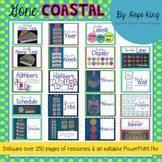 Classroom Decor Mega Bundle: Gone Coastal {Beach Themed}...includes over 250 pages of resources and everything you need to decorate your classroom for the year!