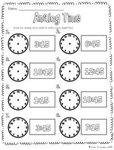 Worksheet containing 9 analogue clocks showing quarter to