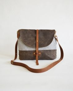 The Westwood Purse in Coffee Waxed Canvas and Ticking Stripe