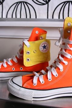 05ea2a07cd55 Salevintage eighties neon Converse x high tops size 3 by fuzzymama