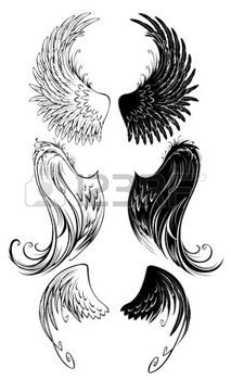 line drawing of angel: artistically painted angel wings on a white background.
