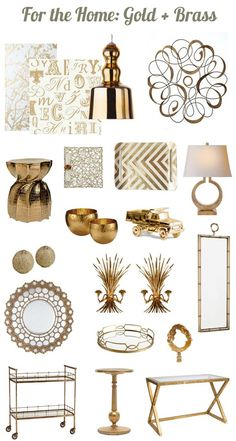 Brass and Gold Accents for the home