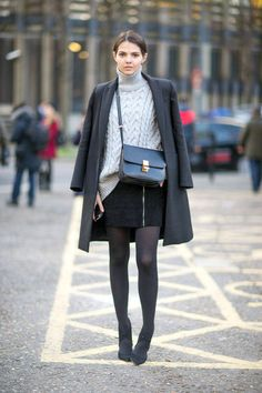 A chunky gray turtleneck takes a mostly-black look to elegant territory.