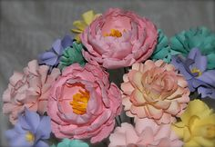 Pastel Colours - MIX Flowers - Handmade Paper Flowers -Set of 12 - On stems - Made to Order - Customize your style and colors