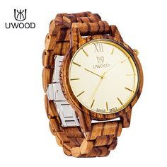 UWOOD Famous Brand Fashion Zebra Sandal Wood Watches Men Luxury Pure Wooden Watch Casual Vintage Quartz